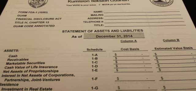 Financial Disclosure Deadline April 22 Pursuant to the Public Official Disclosure Act, (4 GCA Chapter 13), public officials are required to file their Financial Disclosure Statement with the Guam Election […]