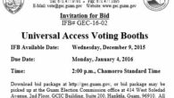 Invitation for Bid # GEC-16-02 Universal Access Voting Booths Issue Date: Wednesday, December 09, 2015 Bid Due Date:2:00 p.m., Monday, January 04, 2016 –Chamorro Standard Time Place of Submission: Guam […]