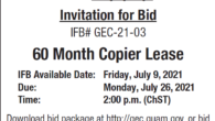 60 Month Copier Lease IFB Available Date: Friday, July 9, 2021 Bids will be accepted until the date listed below:Due Date: 2:00 p.m. Monday, July 26, 2021, Chamorro Standard Time […]